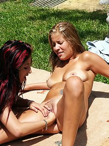 Horny college girls bent over to take each others fists