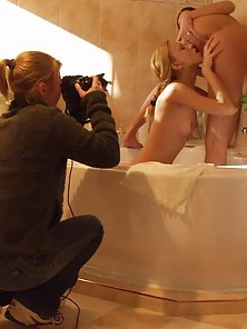 Sexy and hot lesbians posing seductively in the tub bath