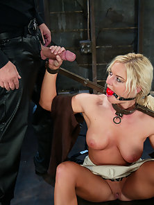 Barbara Summers in various bondage positions endures anal