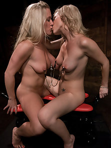 Two blondes fucked hard by machines in both holes, big orgasms