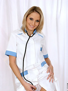 Hot mature nurse leticia sheds her uniform displaying her petite frame in the nude