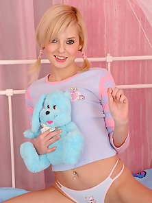 Teddy bear and anal dildo is all this teen needs