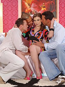 Hot brunette Johane Johansson fucking with 3 men