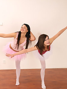 Two very sexy ballerina teenagers dancing and licking naked