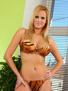 Raylene Richards in leopard print lingerie