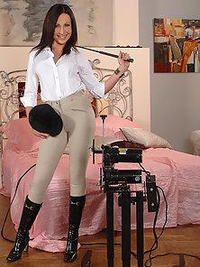 Beautiful slim babe Raffaella G on fucking machine