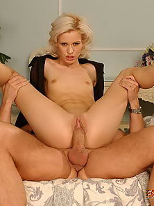 Blonde sexbomb riding on cock and gets a big facial