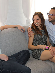Man sits and looks at his girlfriend banging with stranger