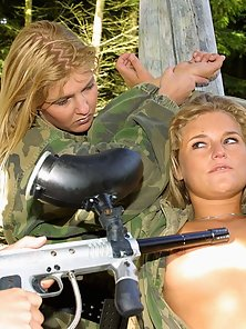 3 hot lesbian blondes get naked and naughty in the army