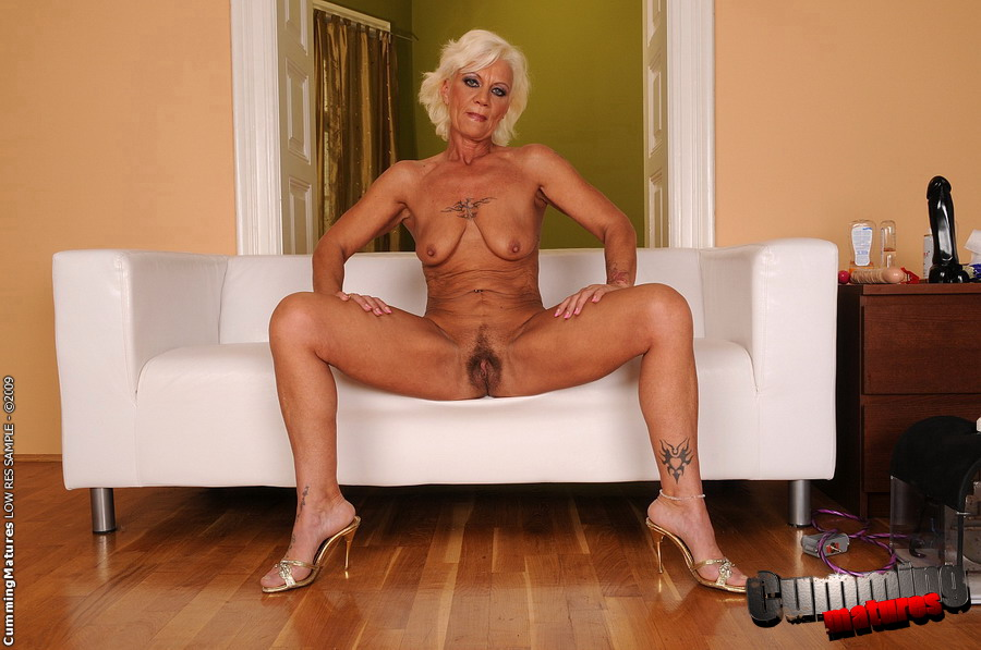 Hot Granny On Fucking Machine And Several Toys