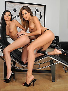 Skinny pornstar babes playing with strap on dildo