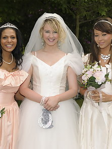 Naughty bride touching her pussy with the bridesmaids