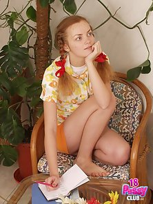 Innocent kitten Adelaide spreads her wet cock-craving pussy surrounded by beautiful flowers.