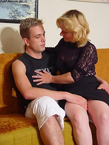 Horny granny stuffed by stud in her holes