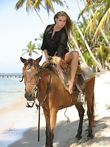 Naked horse riding on the beach