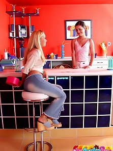 Ultra sexy young lesbians licking their shaved pussies on the bar