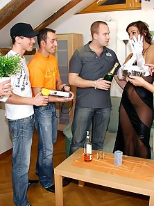 Horny birthday chick banged and creamed by her horny friends