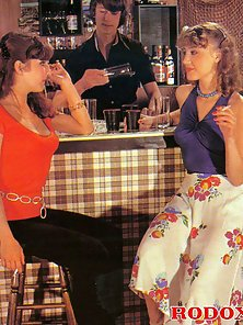 Two firm seventies girls and guy in a truth or dare game