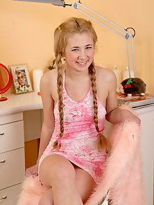 Alexa Long Blond Pigtailed Babe Shoves Two Fingers Deep Inside