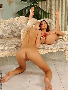 Flexy pornstars licking and dildoing in lingerie
