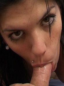 Horny cum hungry Latina licks a dick and takes a load