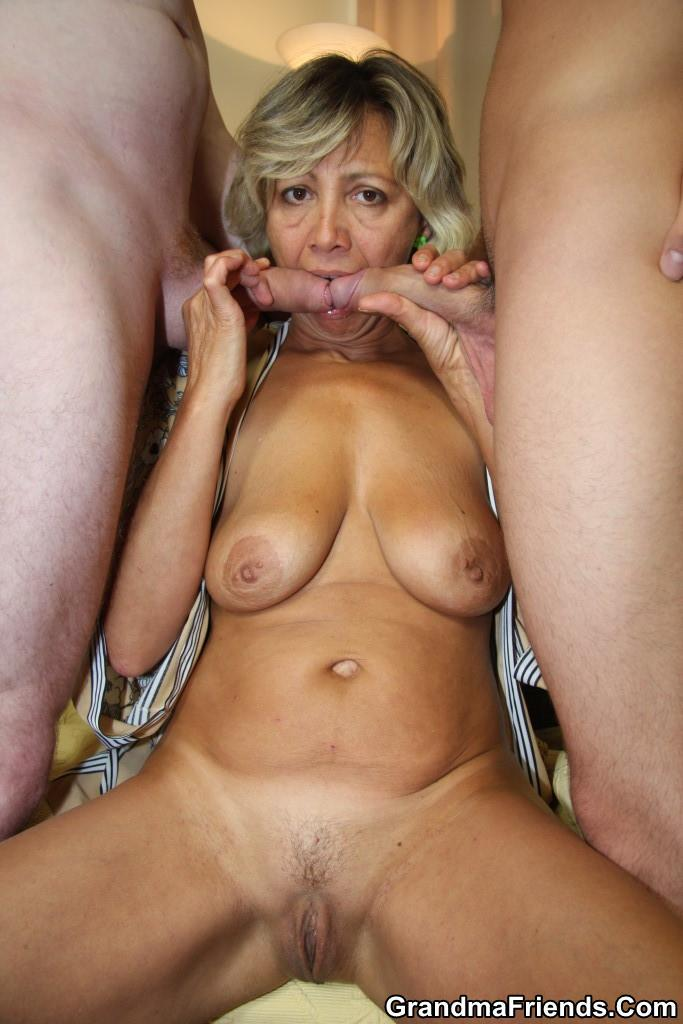 ... Old chick finds two young men robbing her house and makes them fuck her  hard ...