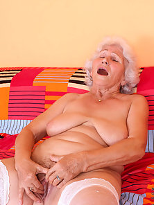 Check out sex starved granny Betty as she shows us her seasoned juice box and pleasures it with her