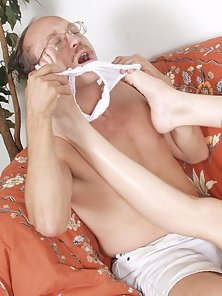 Slim Long-haired Brunette Suck Toes by a Mature Guy