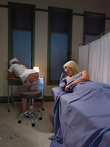 Blonde girl fisted in bondage by sexy nurse.