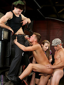 Two hung bisexual guys and two girls have hot sex together