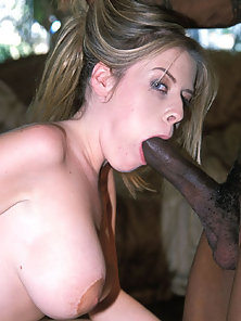 Busty white girl gets deeply fucked in her twat and mounth by a ebony dick