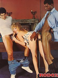 Hairy retro lady pleases a black and white cock