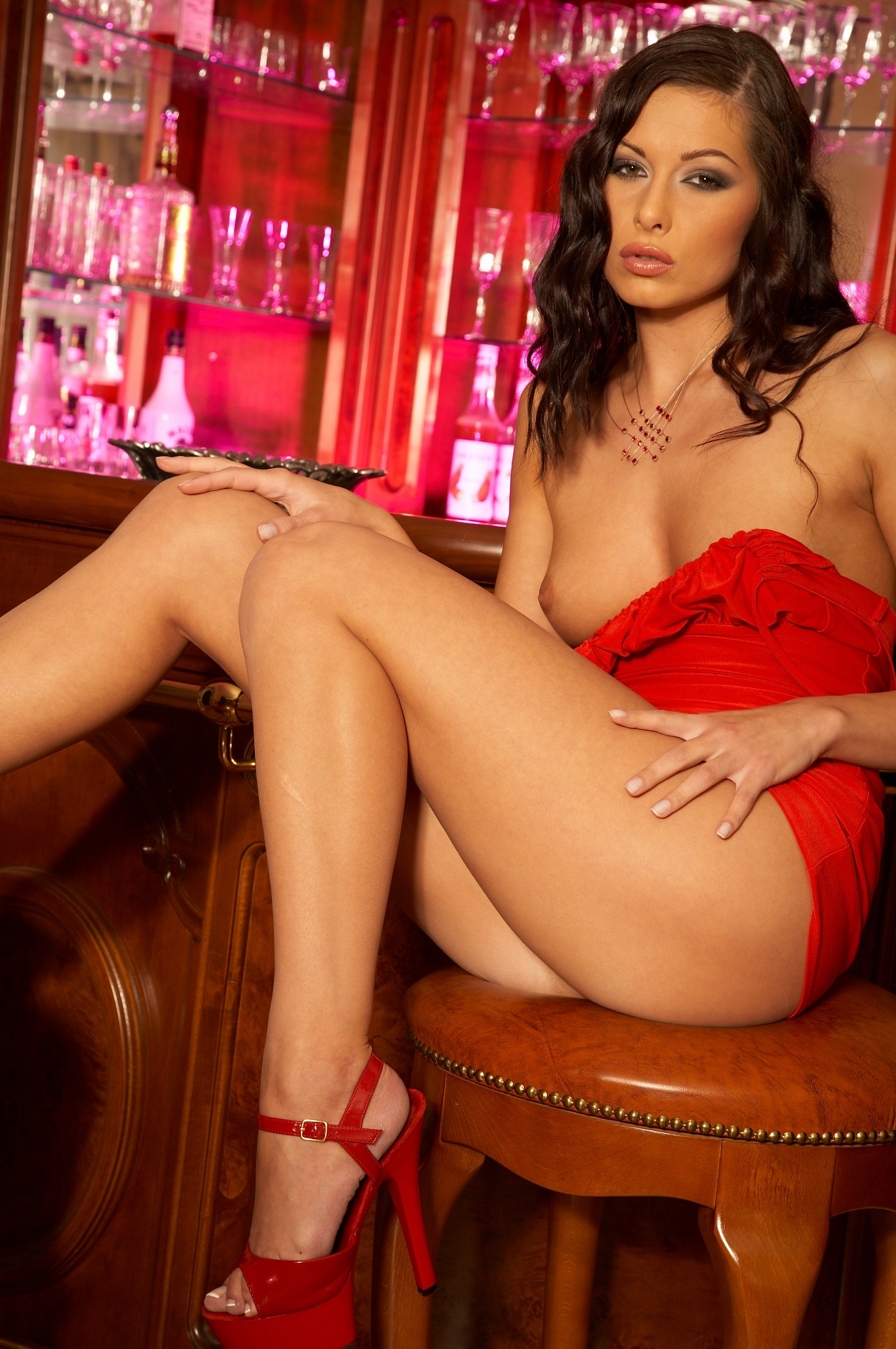Evelyn Lory Sexy In A Red Dress And Hot Panties - Mobile -6600