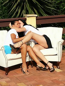 Two horny lesbians fisting and licking one another