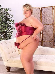 Mature and Large BBW in Red Lingerie Posing