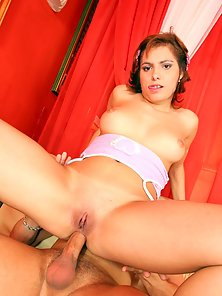 Teen penetrated in her tight holes and jizzed on her face