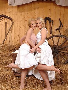 Blonde lesbians licking their feet and dildoing
