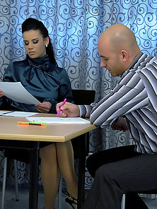 Hot chick loves drilling bald guy