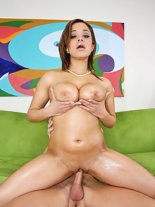 Monster natural titted Chavon taking a huge cock