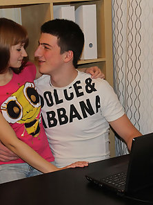 Pretty teen girl and handsome fellow have wonderful sex