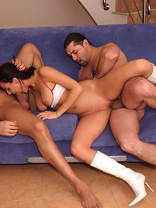 Teenage brunette girl gets dicked by two big stiffy guys