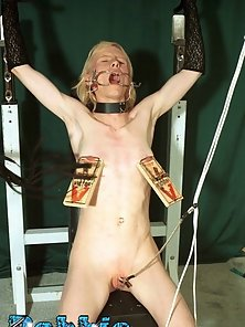 Blonde slut gets tied up for fetish action at home here