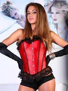 Pretty brunette dressed in sexy lingerie reveals her gorgeous pussy