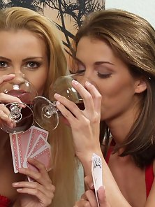 Horny lesbos drinking wine leading to mad clit and pussy fetish