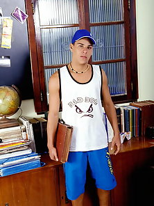 Latino college student Rico Vidal shows his athletic build and nice rock hard cock on webcam