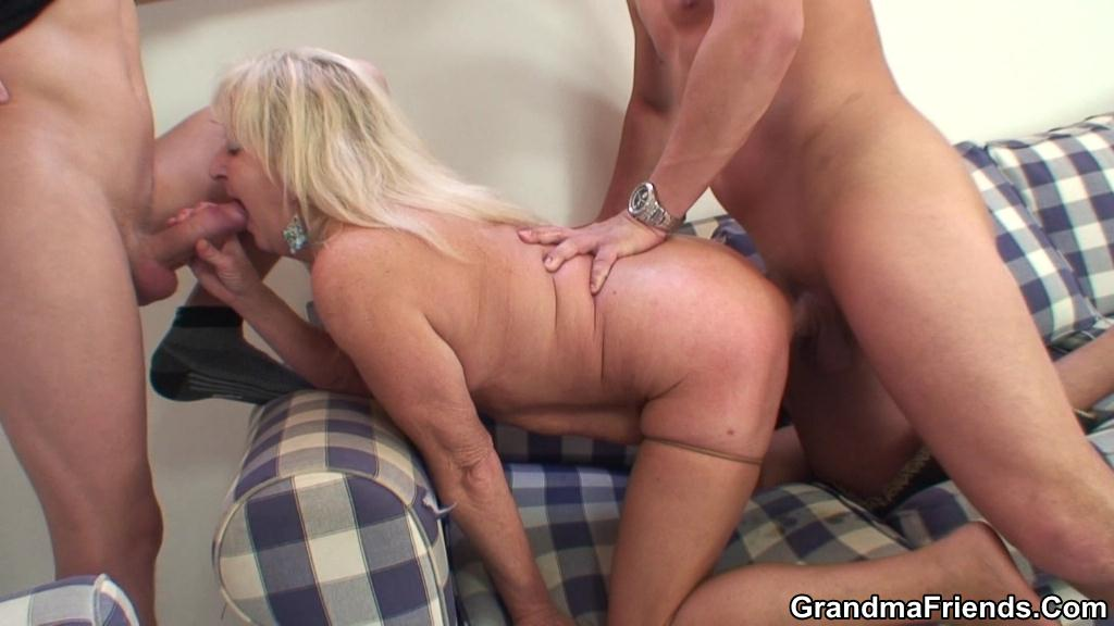 Wife with saggy tits fucked by 2 guys