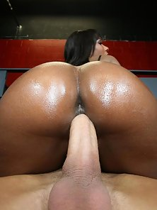 Busty ebony Rane shows off her big round ass