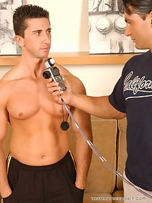 Naughty Ben sucking Fabricio`s large dick on the couch