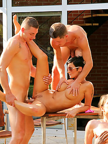 Two hung bisexual guys and a girl all have hot sex together