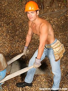 Gay worker Travis stripping outdoors
